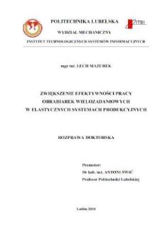 Zwiększenie efektywności pracy obrabiarek wielozadaniowych w elastycznych systemach produkcyjnych : rozprawa doktorska