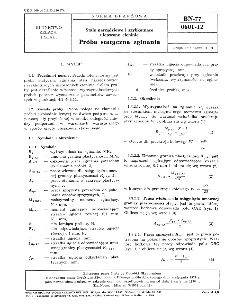 Stale narzędziowe i szybkotnące ulepszone cieplnie - Próba statyczna zginania BN-77/0601-12